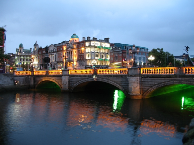 O'Connell Street Bridge at night in Dublin