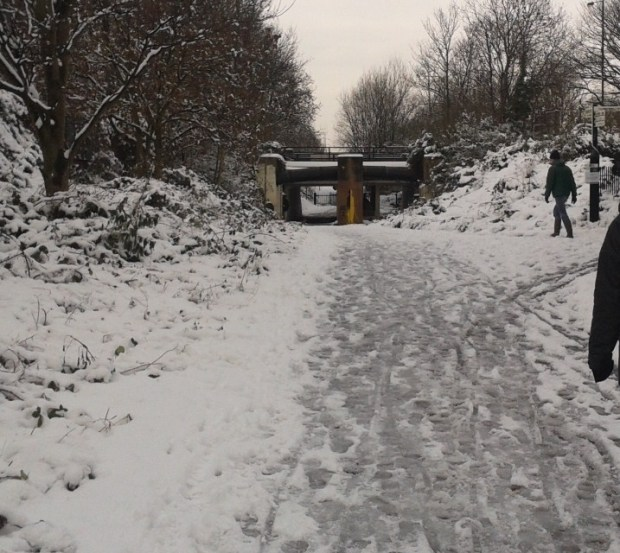 Snowy Path under Leabridge Road